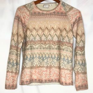 Anthropologie postage stamp floral sweater/XS